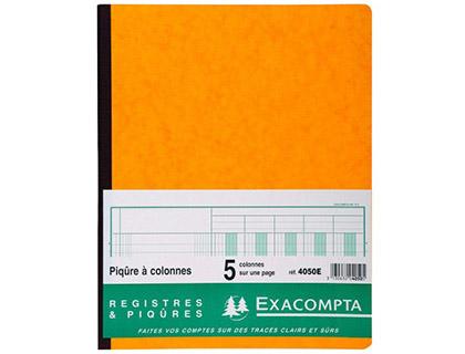 REGISTRE COMPTABLE 5 COLONNES SUR 1 PAGE 32x25cm
