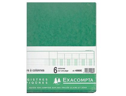 REGISTRE COMPTABLE 6 COLONNES SUR 1 PAGE 32x25cm