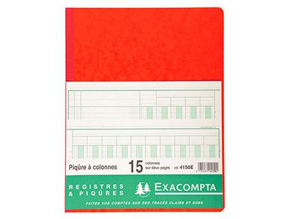 REGISTRE COMPTABLE 15 COLONNES SUR 2 PAGES 32x25cm