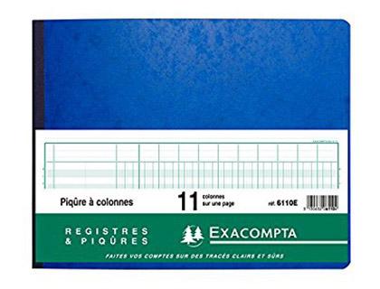 REGISTRE COMPTABLE 11 COLONNES SUR 1 PAGE 25x32cm