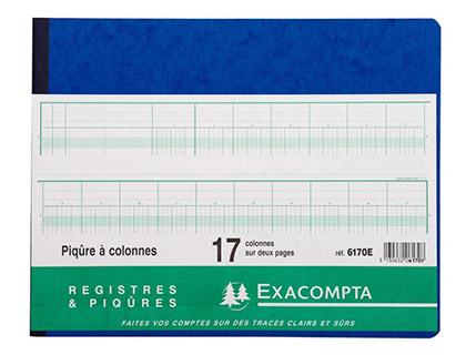 REGISTRE COMPTABLE 17 COLONNES SUR 2 PAGES 25x32cm