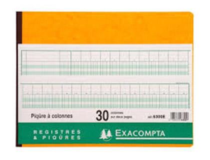 REGISTRE COMPTABLE 30 COLONNES SUR 2 PAGES 25x32cm