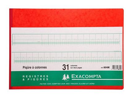 REGISTRE COMPTABLE 31 COLONNES SUR 2 PAGES 28x32cm