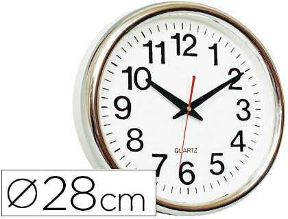 HORLOGE PVC CHROME Ø28cm