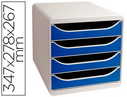 BLOC BIG BOX 4 TIROIRS GRIS LUMIÈRE/BLEU