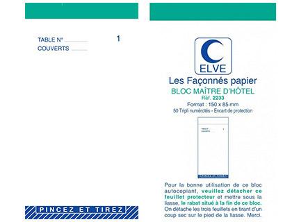 BLOC MAITRE D\'HÔTEL TRIPLIS 50 FEUILLES 85X105MM
