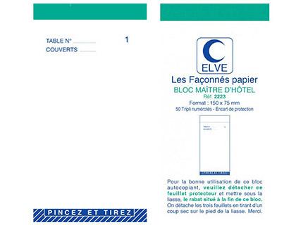 BLOC MAITRE D\'HÔTEL TRIPLIS 50 FEUILLES 75X150MM