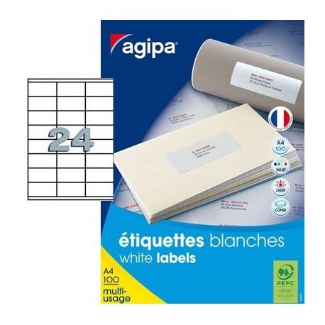 AGIPA ÉTIQUETTES BLANCHES 70X35MM PACK DE 500 FEUILLES