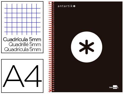 ANTARTIK 21X29.7CM 240 PAGES PETITS CARREAUX NOIR