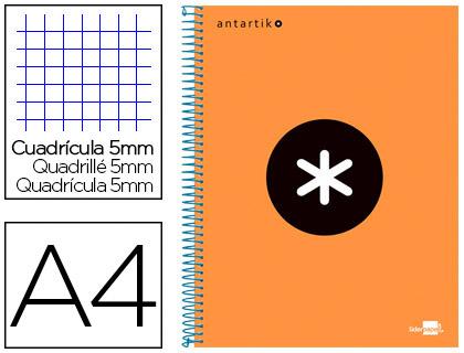 ANTARTIK 21X29.7CM 240 PAGES PETITS CARREAUX ORANGE FLUO