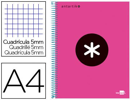 ANTARTIK 21X29.7CM 240 PAGES PETITS CARREAUX ROSE FLUO