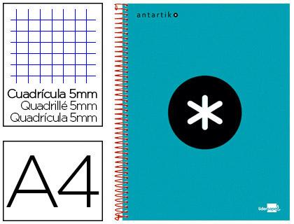 ANTARTIK 21X29.7CM 240 PAGES PETITS CARREAUX TURQUOISE
