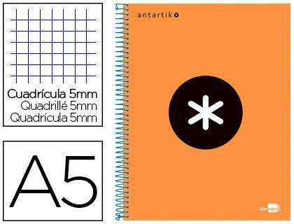 ANTARTIK 14.8X21CM 240 PAGES PETITS CARREAUX ORANGE FLUO