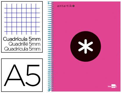 ANTARTIK 14.8X21CM 240 PAGES PETITS CARREAUX ROSE FLUO