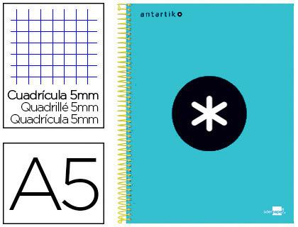 ANTARTIK 14.8X21CM 240 PAGES PETITS CARREAUX TURQUOISE