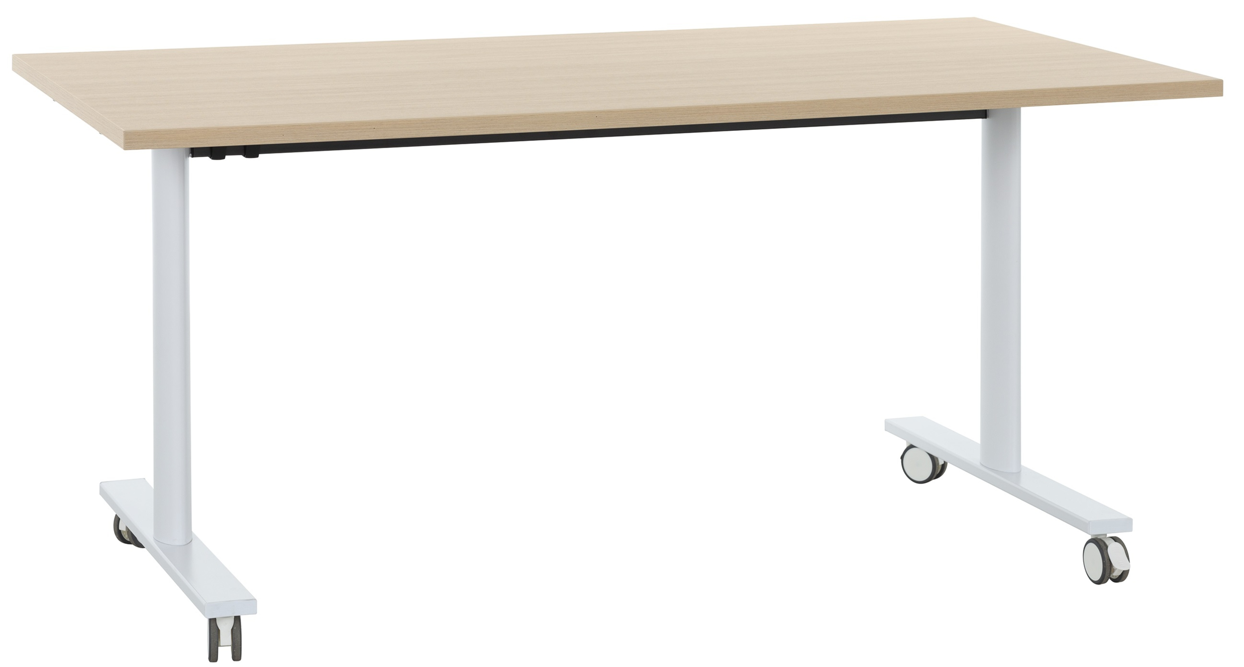 Yes Chene Naturel Pieds Blanc Table Mobile Et Rabattable 160cm