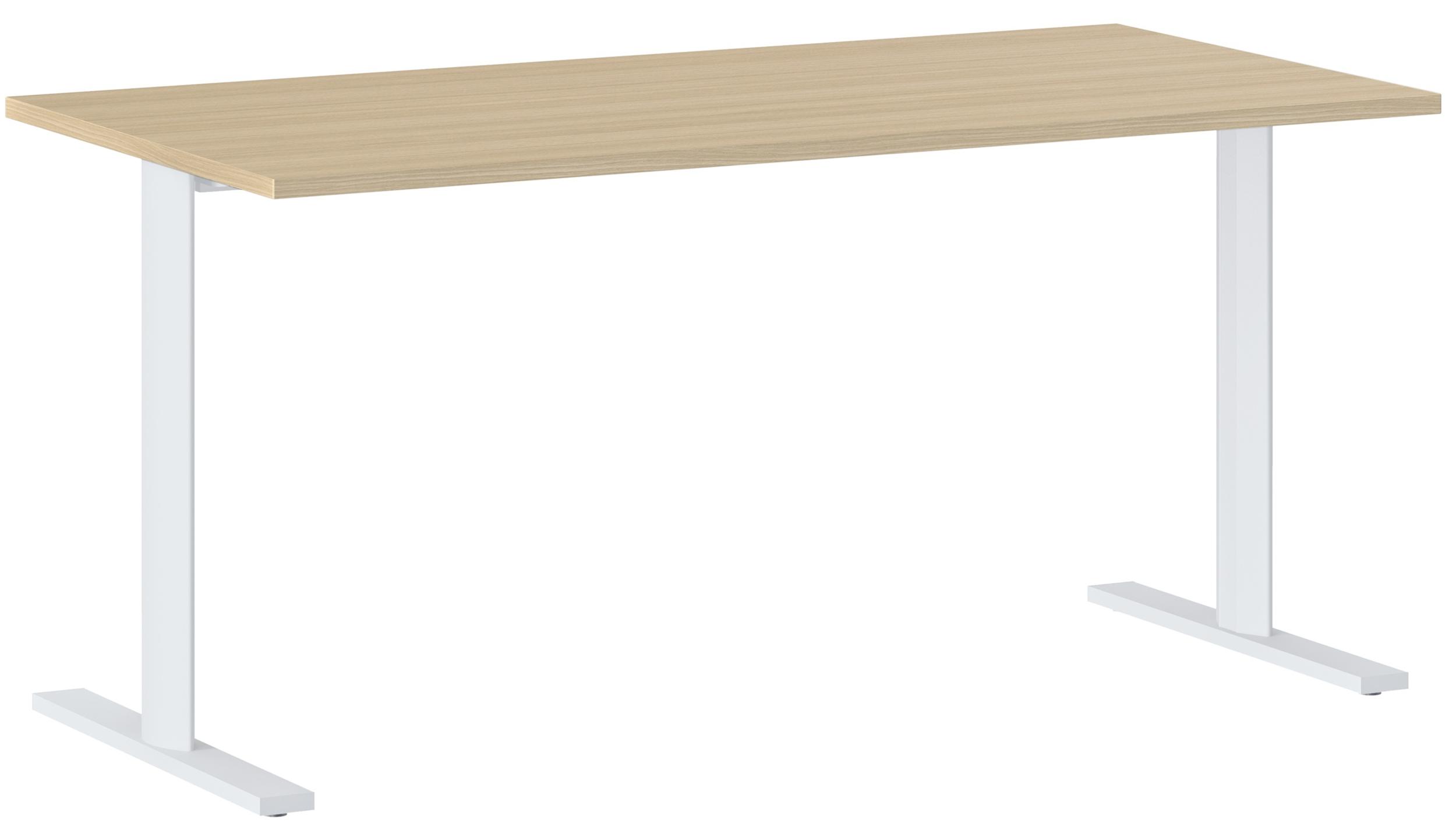YES/XERUS CHÊNE NATUREL TABLE DE RÉUNION PIEDS BLANCS 160CM
