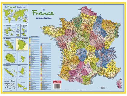 SOUS-MAINS CARTONNÉ CARTE DE FRANCE