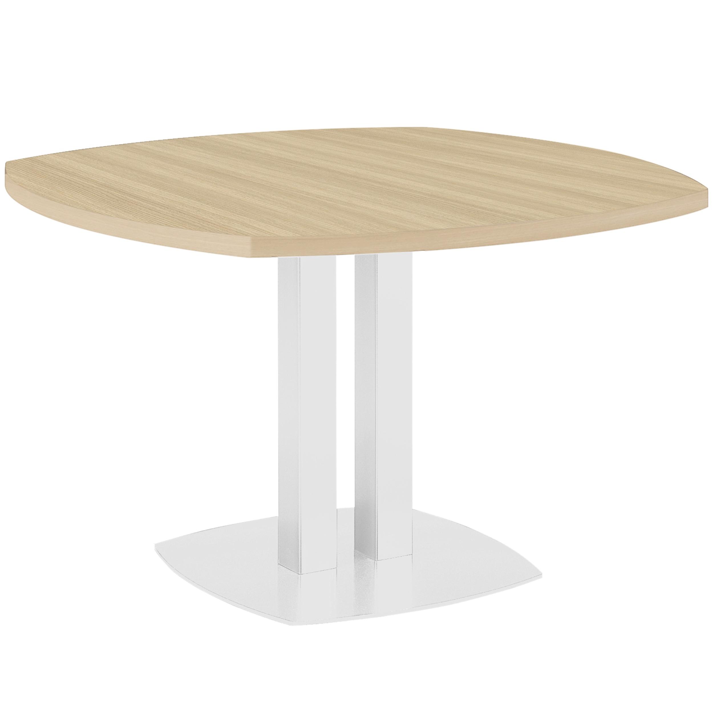 TABLE CHÊNE NATUREL PIED DOUBLE COLONNE BLANC