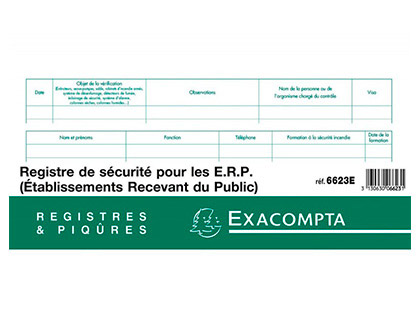 REGISTRE DE LA SÉCURITÉ POUR LES ÉTABLISSEMENTS RECEVANT DU PUBLIC
