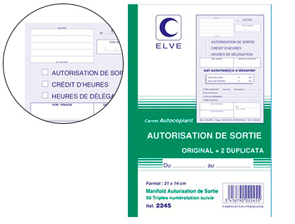 AUTORISATION DE SORTIE 50 TRIPLIS 21X14CM