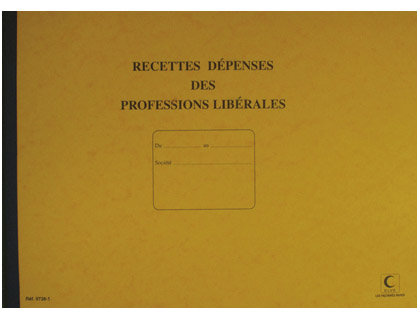 REGISTRE RECETTES/DÉPENSES PROFESSIONS LIBÉRALES