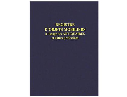 REGISTRE D\'OBJETS MOBILIERS POUR ANTIQUAIRES
