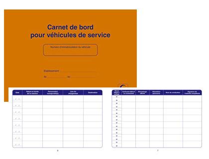 CARNET DE BORD POUR VÉHICULES DE SERVICE