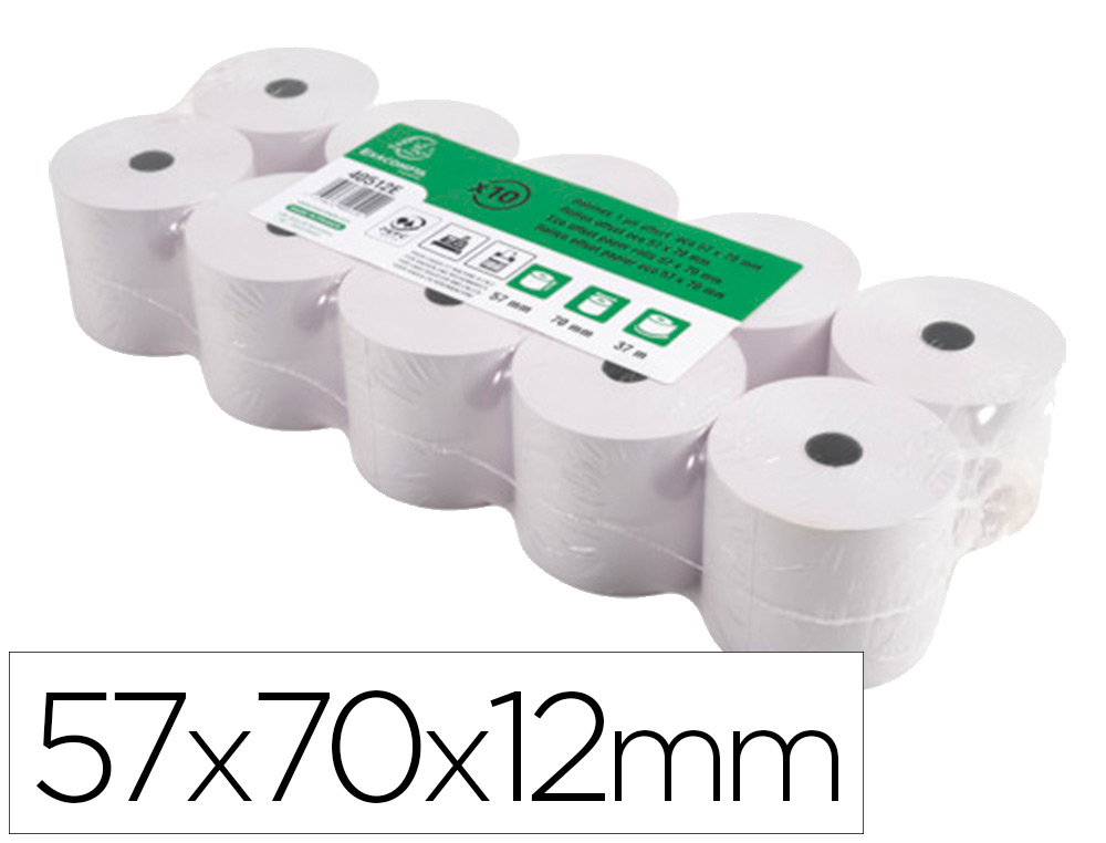 BOBINE CAISSE/CALCULATRICE 70X12X74MM PACK DE 10