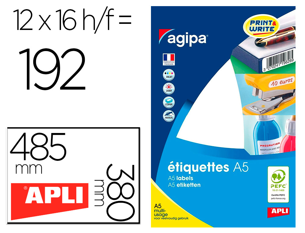 ÉTIQUETTES MULTI USAGES 48.5X38MM