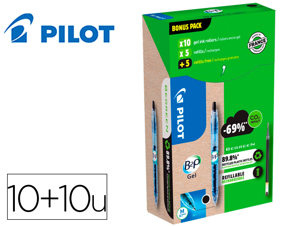 B2P GREEN PACK 10 STYLOS + 10 RECHARGES NOIR