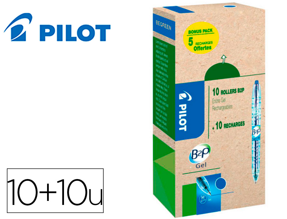 B2P GREEN PACK 10 STYLOS + 10 RECHARGES BLEU