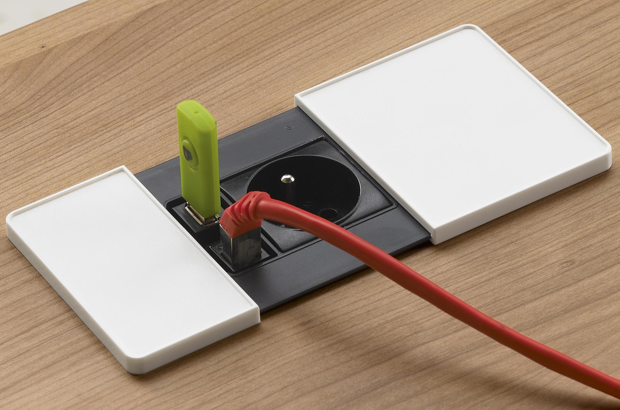 PRISE DE CONFORT 1 USB & 1 RJ45 BLANC