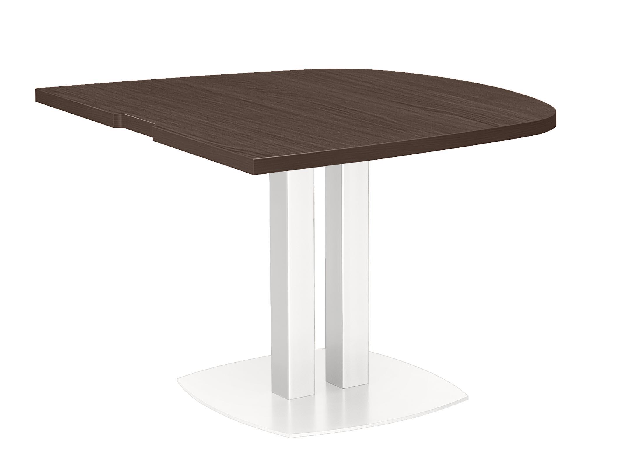 XENON CHÊNE TABLE ½ OVALE PIED MÉTAL BLANC