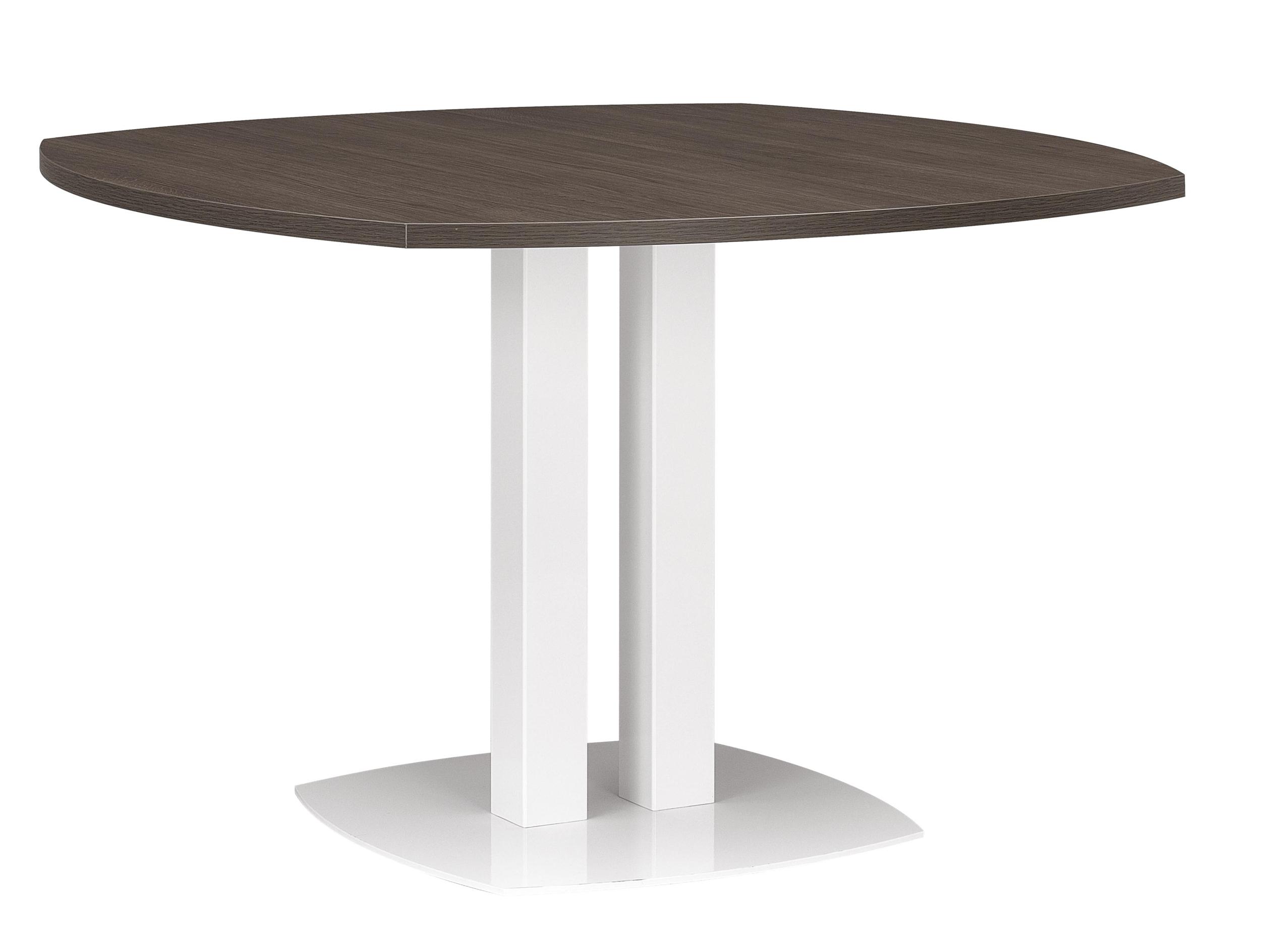 XENON CHÊNE TABLE COURBÉE PIED MÉTAL BLANC