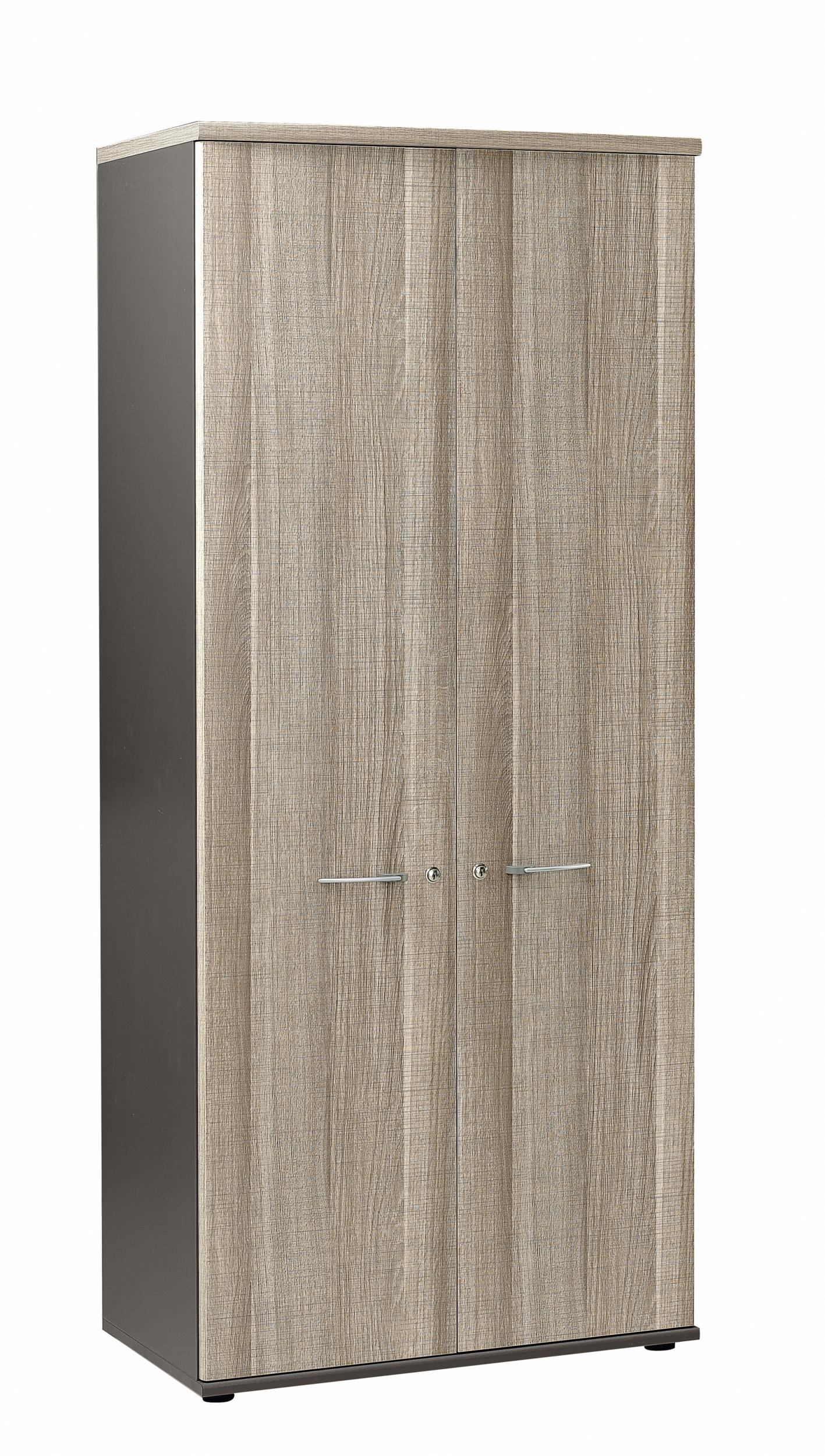 Jazz ch ne gris armoire 2 portes 80cm rangements meubles for Meuble bureau jazz