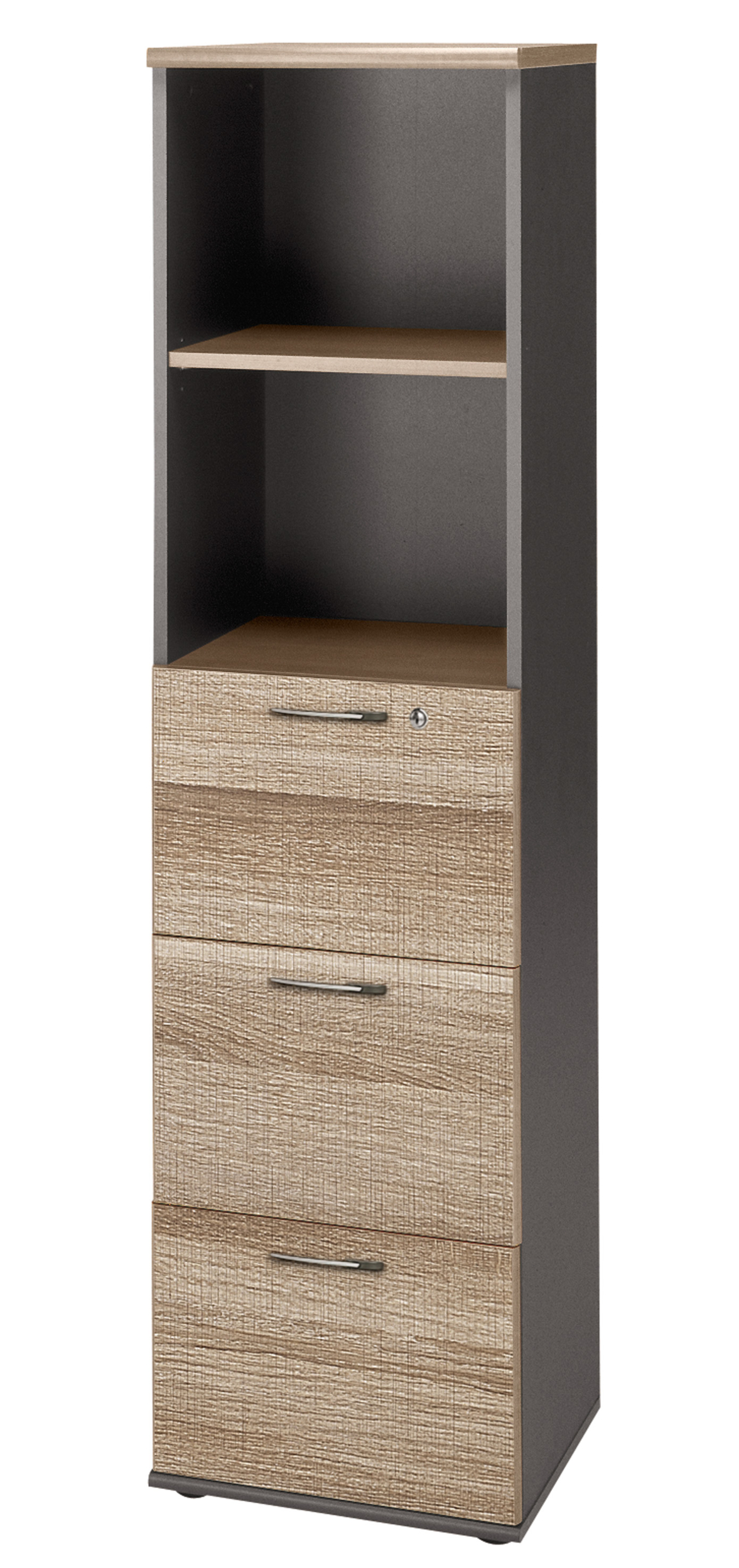 Jazz ch ne gris colonne rangements meubles armoires for Meuble bureau jazz