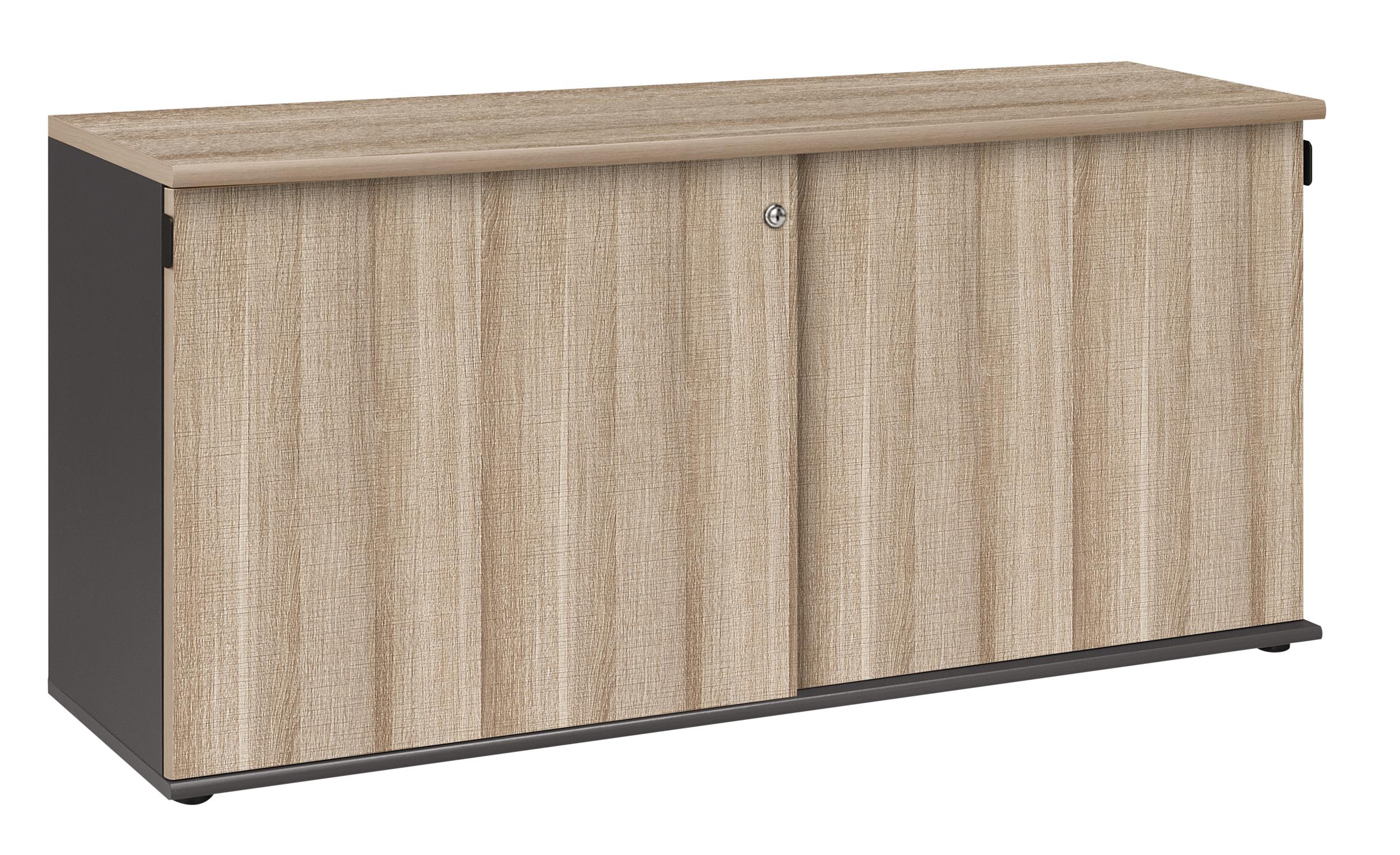 Jazz ch ne gris cr dence rangements meubles bas for Meuble bureau jazz