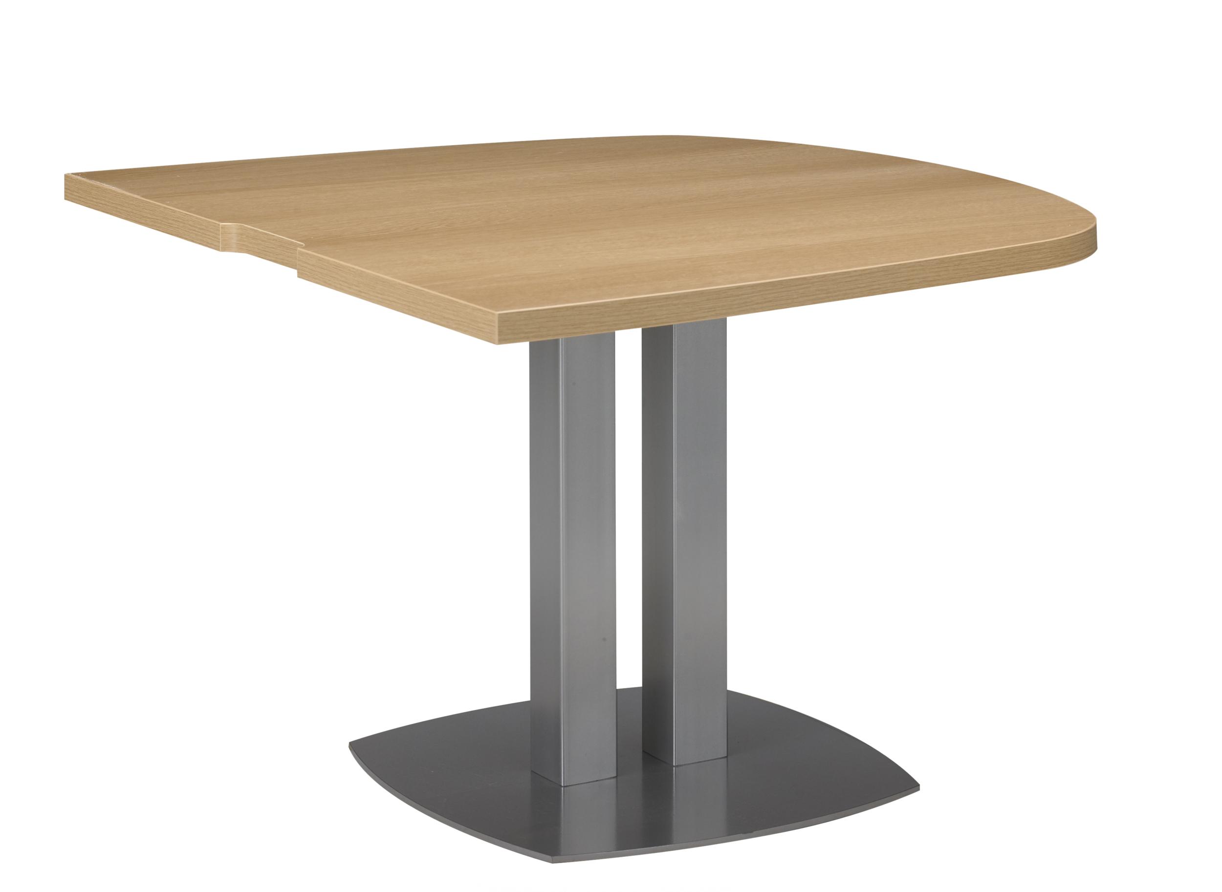 SLIVER CHÊNE TABLE ½ OVALE PIED MÉTAL GRIS