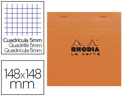 BLOC AGRAFÉ ORANGE 14.8X14.8CM RÉGLURE 5x5