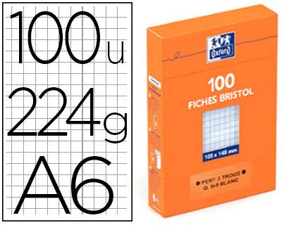 FICHE BRISTOL 105X148MM RÉGLURE 5X5 BLANCHES PERFORÉES