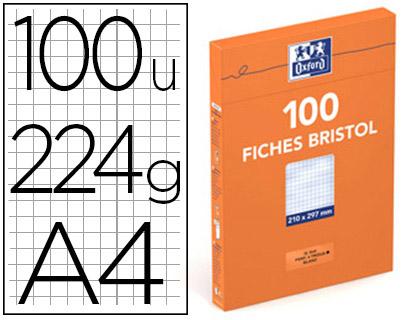 FICHE BRISTOL 210X297MM RÉGLURE 5X5 BLANCHES PERFORÉES