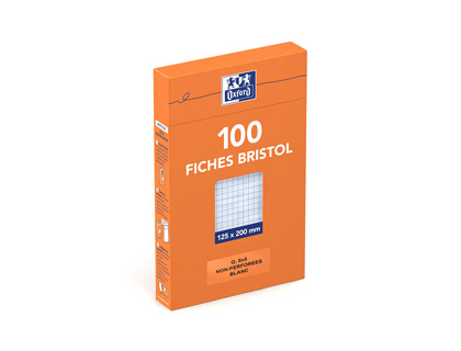 FICHE BRISTOL 125X200MM RÉGLURE 5X5 BLANCHES