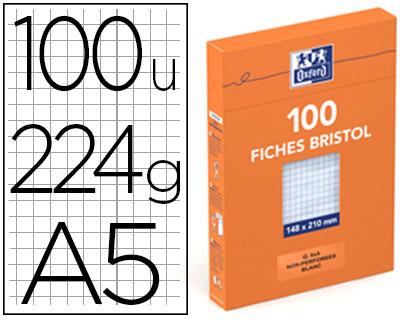 FICHE BRISTOL 148X210MM RÉGLURE 5X5 BLANCHES