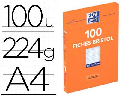 FICHE BRISTOL 210X297MM RÉGLURE 5X5 BLANCHES