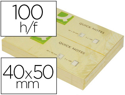 QUICK NOTES JAUNES 40X50MM PACK DE 3