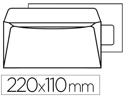 500 ENVELOPPES DL 90g ADHÉSIVES AVEC FENÊTRE 45x100mm