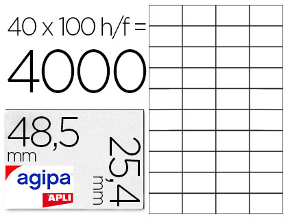 AGIPA ÉTIQUETTES  COINS DROITS 48,5x25.4mm