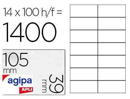 AGIPA ÉTIQUETTES  COINS DROITS 105x39mm