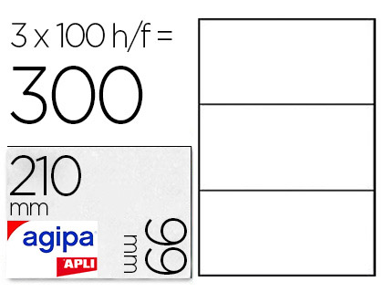 AGIPA ÉTIQUETTES  COINS DROITS 210x99mm